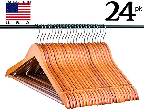Light Cherry Everyday Wood Hangers with Non-Slip Bar and Notches, Super Sturdy and Durable Wood, 24 pack by Neaties (Image #7)