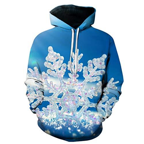 Ymout Women Men Christmas Hooded Pullover Tops Long Sleeve 3D Snowflake Print Hoodies (Blue,L)