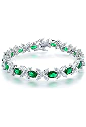 Bling Jewelry Rhodium Plated CZ Flower Tennnis Bracelet 7.5in