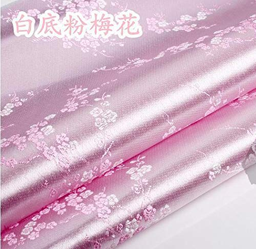 FidgetFidget 1 Meter by The Yard Brocade Plum Blossom Tapestry Satin Fabric 35.4