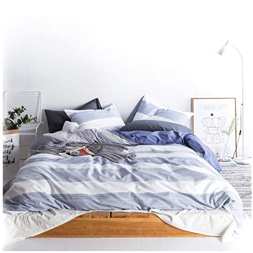 Eikei Home Cabana Stripe Modern Duvet Cover 100-Cotton Twill Bedding Set Geometric White and Navy Distressed Rugby Stripes Print in Dusty Blue Shades Reversible (King, Navy) ()