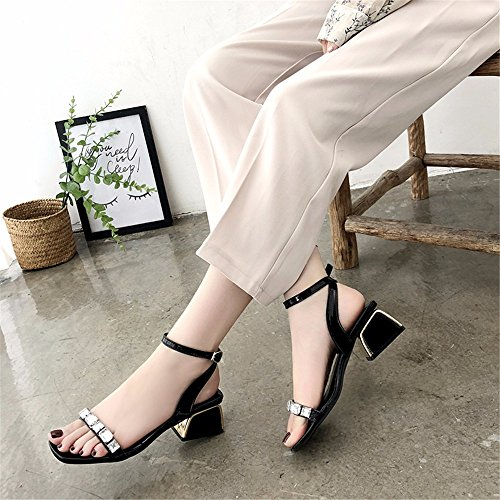YMFIE Rhinestones Atractivos del Temperamento de la Moda Europea Punta Abierta del talón de Las Sandalias del tacón Cuadrado de Las señoras con los Zapatos del talón black