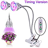 D-FLIFE Upgraded 2018 New Dual LED Grow Light Desk Lamp True 15W Dimmable 3 Levels Plant Lamp with Adjustable 360 Degree Gooseneck&Timer(2H/4H/8H) for Indoor Plants Hydroponics Greenhouse Gardening