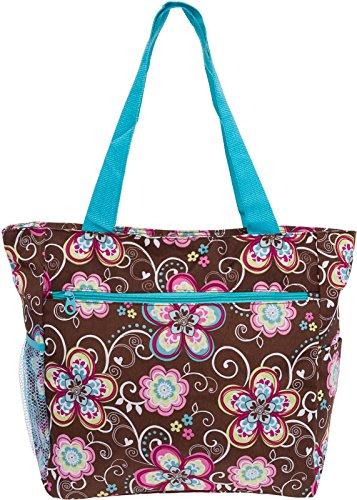 Women's Beach Shopper Tote Bag (Brown Flower w/Turquoise ()