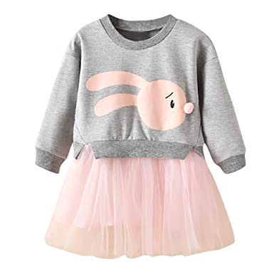 aaab80972 Amazon.com: Hatoys Baby Girl Cartoon Bunny Princess Patchwork Sweatshirt Tulle  Dress Clothes: Clothing