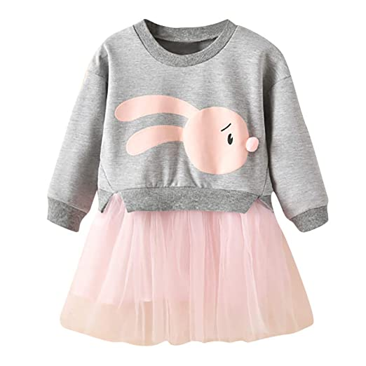 c761202b5 Amazon.com: ❤ Mealeaf ❤ Kids Baby Girl Tulle Dress Cartoon Bunny Princess  Patchwork Sweatshirt Tutu Skirt Clothes 0-6t: Clothing