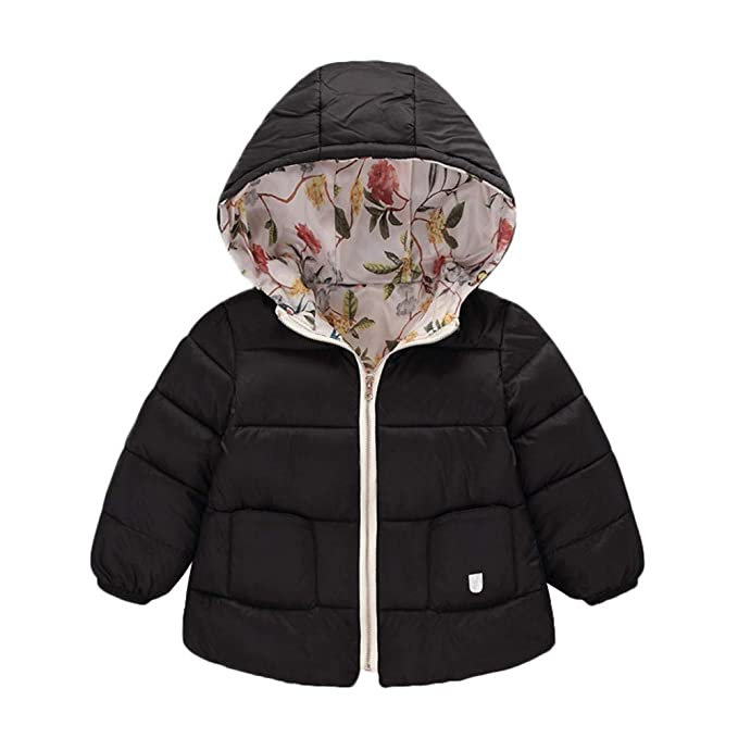 58dc22e589ba Amazon.com  Winter Coats Kids Hoods Light Puffer Down Floral Jacket ...