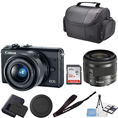 Canon EOS M100 Mirrorless Digital Camera (Black) with 15-45mm Lens + 32GB SanDisk Memory + Professional Carrying Case + Camera Deluxe Starter Kit
