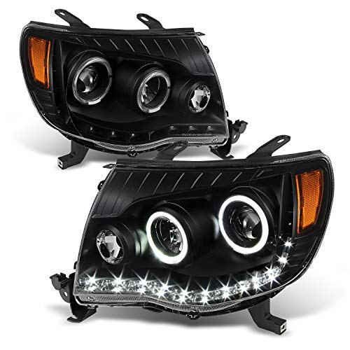 For 2005-2011 Toyota Tacoma Black Bezel Dual Halo Ring DRL Daylight LED Projector Headlights Pair Left+Right - Toyota Tacoma Halo Headlights