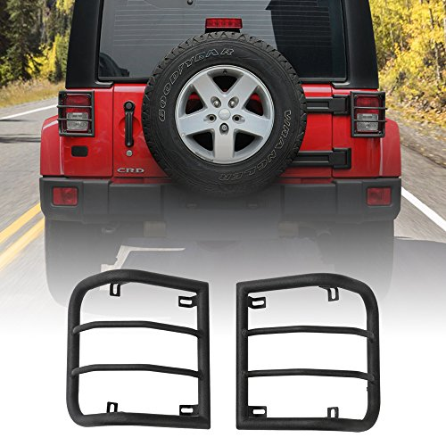 JeCar Strong Iron Taillight Cover for 2007-2017 Jeep JK Wrangler & Wrangler Unlimited – Pair