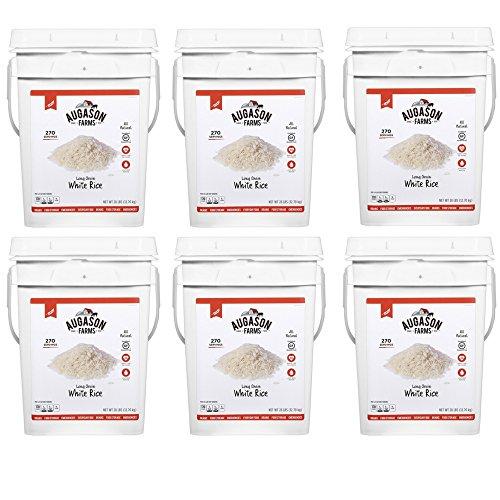 Augason Farms Long Grain White Rice Emergency Food Storage 28 Pound Pail (6 Pail) by Augason Farms