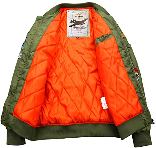 Cappott Army Abbigliamento Giacca Sportiva Sportivo Green Volo Sawadikaa Trapuntata Flight Uomo Bomber qRgzUR