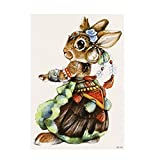 Rabbit Temporary Tattoo Realistic Animals Waterproof Tattoos Stickers Removable Body Art Paper Fake Tattoos Party Favors for Women & Girls 1PC (F)