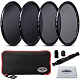 Rangers 77mm Full ND2, ND4, ND8, ND16 Neutral Density Filters and Carrying Case + Lens Cleaning Cloth + Lens Cleaning Pen