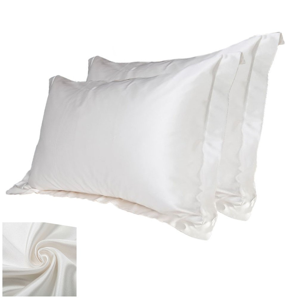 Windyus 2PCS Silk Pillowcase Hair Skin -Silky Satin Pillow Case -Natural Silk Hair Facial Beauty-Pillow Shams Cover Size 33 X 21 inch