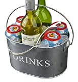 Mind Reader Metal Galvanized Ice Bucket with Bottle Opener, Silver