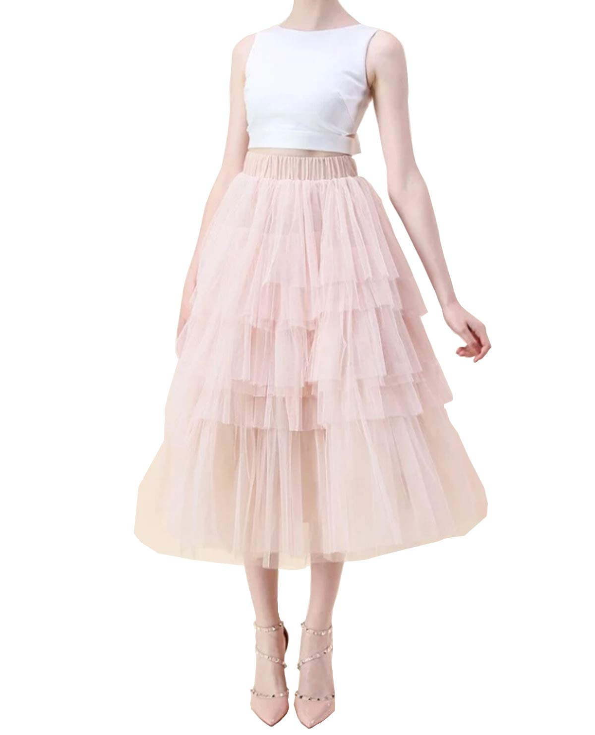 Women Layered Tulle Skirt in Nude Pink Fluffy Princess Tiered Mesh Ballet Prom Party Tulle Tutu A-Line Dress (L) by Dzień dobry (Image #1)