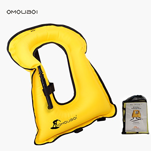 OMOUBOI Unisex Adult Portable Inflatable Canvas Life Jacket Snorkel Vest Diving Safety