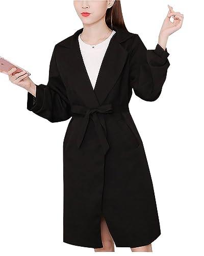 Mujer Abrigos Chaqueta Con Cinturón Manga Larga Casual Trench Coat Slim Parka Outwear Negro S