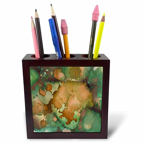 3dRose Anne Marie Baugh - Abstract - Tan, Green, and Copper Faux Printed Glitter Watercolor Splash - 5 inch Tile Pen Holder (ph_283317_1)