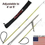 Scuba Choice 6' Travel Spearfishing Pole Spear 1 Prong Single Barb Tip Adjustable to 4' and 5' with Bag (3-Piece)