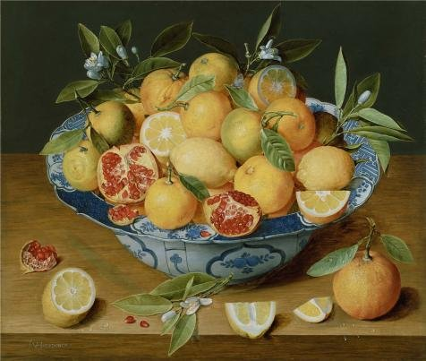 Oil Painting 'Still Life With Lemons, Oranges And A Pomegranate, About 1620 - 1640 By Jacob Van Hulsdonck' 18 x 21 inch / 46 x 54 cm , on High Definition HD canvas prints, Bar, Garage And Livi decor