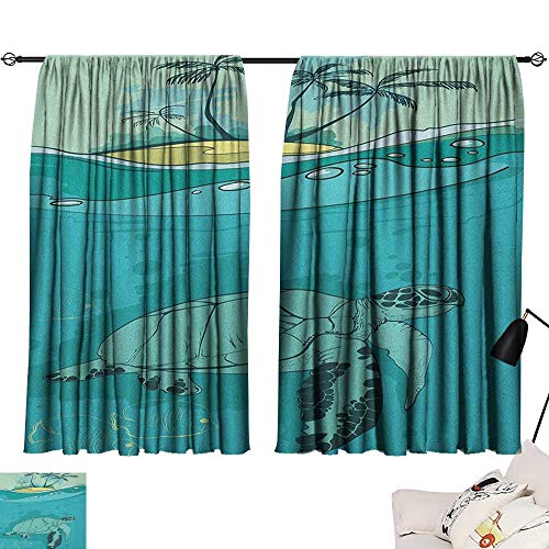 Pocket Thermal Insulated Tie Up Curtains Ocean,Sea Turtle Swimming Coral Reef Exotic Island Underwater Life Illustration, Turquoise Teal Green 54