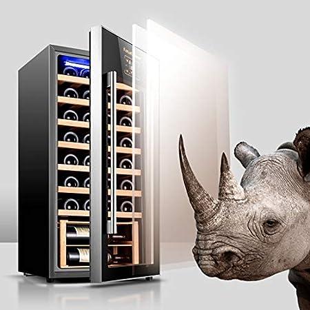 YFGQBCP Autoportante Rojo/Blanco del refrigerador de Vino, Control táctil/Doble Vidrio Templado/Funcionamiento silencioso Nevera (32 Botellas)