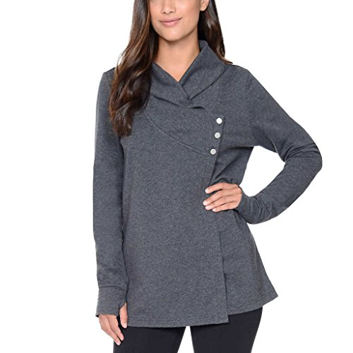 Danskin Women's French Terry Asymmetrical Yoga Wrap Jacket (Gray, Medium)