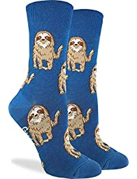 Good Luck Sock Women's Hello Sloth Socks - Blue, Adult Shoe Size 5-9