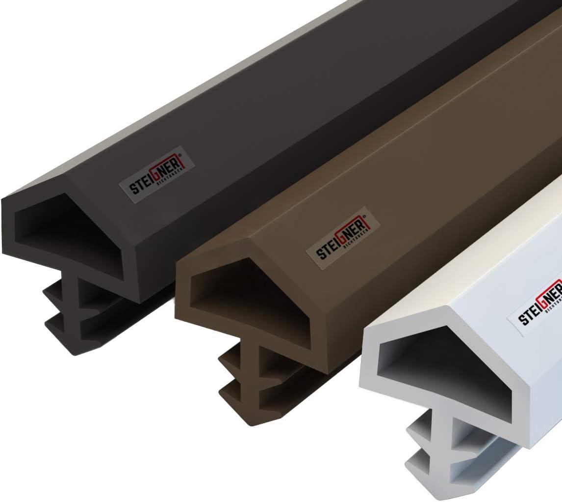 STEIGNER Burlete para Puerta y Ventana STD05 5m 12mm Blanco Junta de goma Perfil de estanqueidad para ventanas y puertas de PVC, Madera, Aluminio