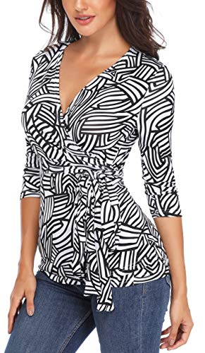 MISS MOLY Women's Half Sleeves Wrap Summer Tunic Shirts Zebra Printed Casual V Neck Peplum Tops Black and White-S