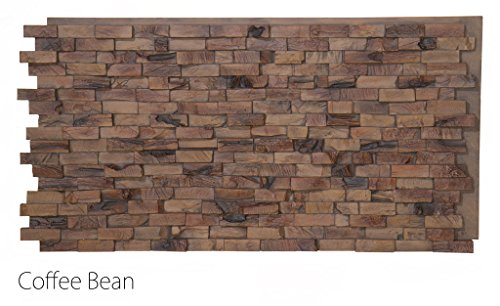 "Faux Stacked Teak Wood Wall Panels Interior Exterior 24"" x 48"" 