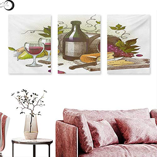 """Mannwarehouse Wine Poster Prints Vintage Style Composition with Wine and Cheese Fruits Gourmet Taste Beverage and Food Triptych Wall Art Multicolor W 12"""" x L 24"""" x3pcs from Mannwarehouse"""
