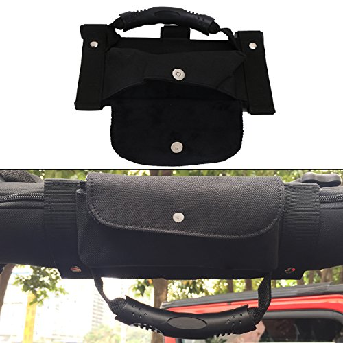 Jade Black Roll Bar Grab Handle Sunglasses Holder Storage Bag For 1987-2017 Jeep Wrangler TJ CJ YJ JK JKU