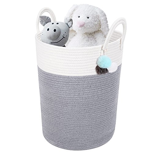 DOKEHOM DKA0625WGL X-Large Storage Baskets (4 Sizes) - 15.7'' x 19.7'' - Cotton Rope Basket Woven Baby Laundry Basket with Handle for Diaper Toy Cute Neutral Home Decor (White/Grey, L) by DOKEHOM