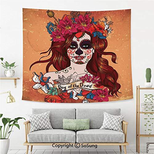 8' Wool Purse - SoSung Day of The Dead Decor Wall Tapestry,Dia de Los Muertos Spanish Mexican Festive Skull Art,Bedroom Living Room Dorm Wall Hanging,92X70 Inches,Cinnamon Magenta Maroon