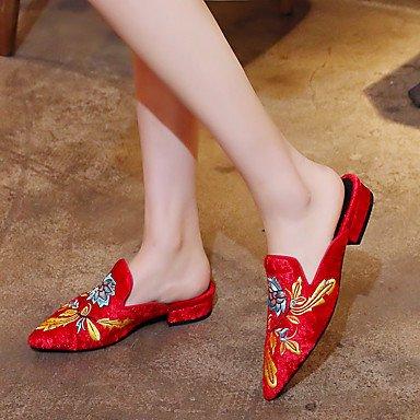 LvYuan Mujer-Tacón Robusto-Zapatos bordados-Sandalias-Exterior Vestido Informal-Cachemira-Negro Rojo Red