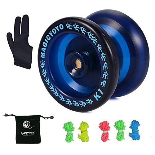 MAGICYOYO Responsive YoYo K1 with Yoyo Sack + 5 Strings and Yo-Yo Glove Gift (K1 Dark Blue)