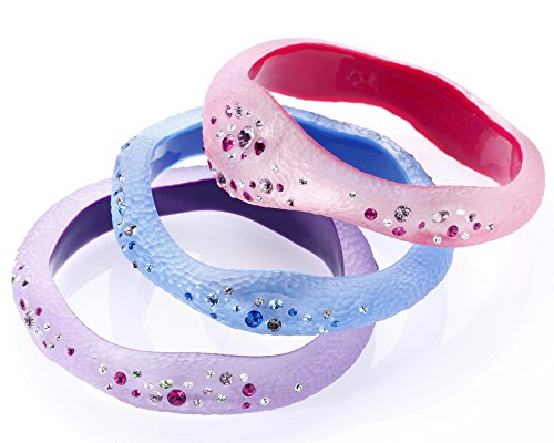 - Gold & Honey 1995 Handcrafted Set of 3 Pink Blue and Purple Lucite Slip On Bangles with Colorful Confetti Crystals