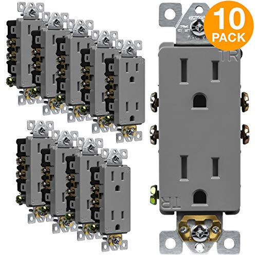 ENERLITES Decorator Receptacle Outlet, Tamper-Resistant, Residential Grade, 3-Wire, Self-Grounding, 2-Pole, 15A 125V, UL Listed, 61501-TR-GY-10PCS, Gray (10 Pack)