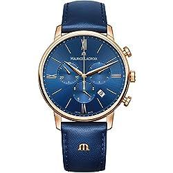 Maurice Lacroix Men's 'Eliros' Quartz Gold and Leather Casual Watch, Color:Blue (Model: EL1098-PVP01-411-1)