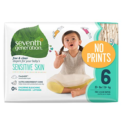 Seventh Generation Baby Diapers for Sensitive Skin, Plain Unprinted, Size 6, 100 Count (Packaging May Vary) (Generation Seventh 6 Size Diapers)