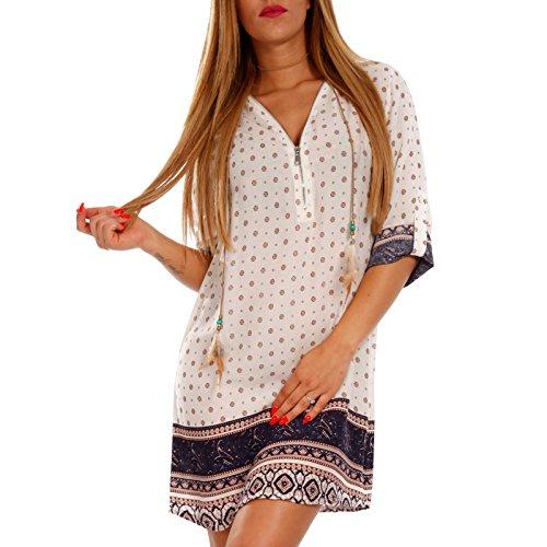 Young-Fashion Damen Tunika Hippie Minikleid Tunikakleid mit Zipper Ausschnitt Strandkleid aus 100% Viscose Mehrfarbig/Model12