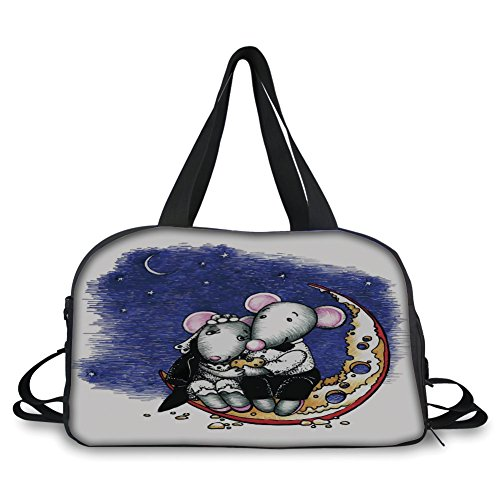 Travel handbag,Animal Decor,Mouse Couple Sitting on the Cheese Flavoured Moon Bride and Groom Valentines Wedding Theme,Multi ,Personalized by iPrint