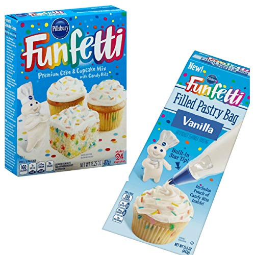 Funfetti Cupcake Mix With Filled Pastry Bag-for DIY Birthday Party for Kids