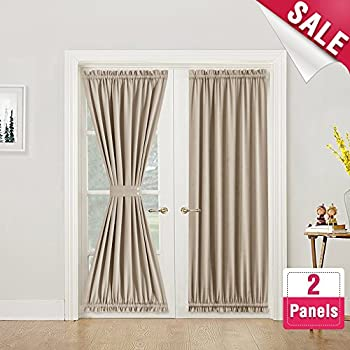 Blackout French Door Curtain Panel 72 Inches Long Curtains Thermal Insulated 2 Panels Room Darkening Taupe