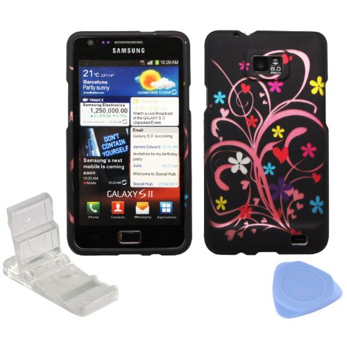 ((4 items Combo: Phone Stand, Screen Protector Film, Case Opener, Graphic Case) Pink Vine White Purple Blue Daisy Flower Red Heart Design Rubberized Snap on Hard Shell Cover Faceplate Skin Case for AT&T Samsung Galaxy SII S2 i777)