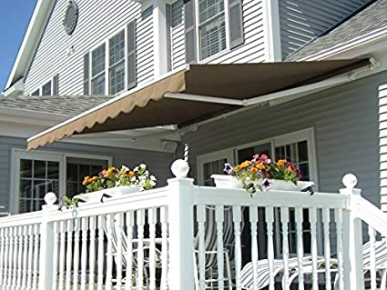Exacme 6055 0810Y MCombo Manual Retractable Patio Deck Awning Sunshade  Shelter Outdoor Canopy, 10