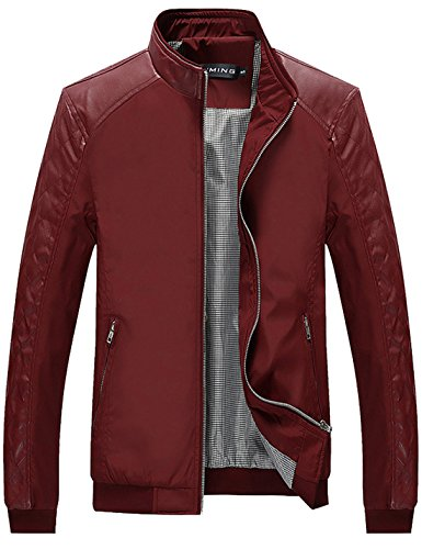 Tanming Men's Color Block Slim Casual Jacket (Large, Red)